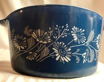 Vintage Pyrex Glass Colonial Mist Blue Daisy Casserole Dish