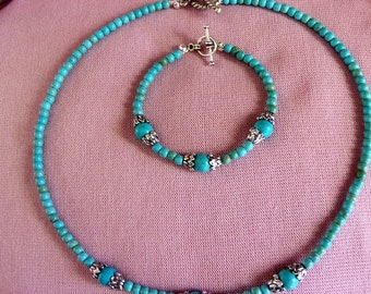 Turquoise magnesite and pewter necklace and bracelet set
