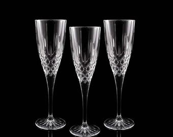 Vintage Crystal Champagne Flutes / Wedding Toasting Glasses / Crystal Stemware