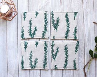 Linen Coaster Set Drink Coaster Rosemary Print  Custom Rustic Housewarming Gift Coaster Set Cloth Coasters Natural Linen Rustic Home Decor