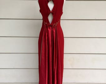 Vintage 90s Red Gold Gown with Cutout Back Bow Detail and Train