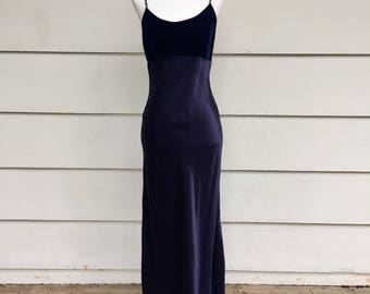 Vintage 90s Jessica McClintock Navy Blue Velvet Maxi Dress with Rhinestone Strap Details