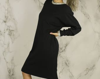 Vintage Sequined Wool Blend Shift | 90's Holiday Dress | Little Black Dress | S | M