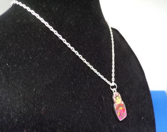 Child necklace with Russian doll pendant