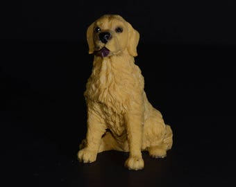 Sandicast small size sculpture, Sitting Golden Retriever, DOG Figurine, Statue, Hand Painted, Resin, Replica Realistic, Dog, Collectible