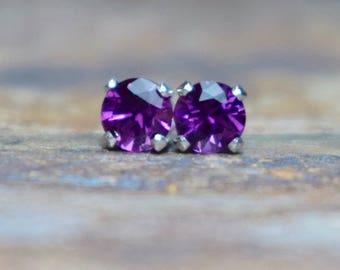 Rhodolite Garnet Stud Earrings, 4mm Purple Garnet and 925 Sterling Silver Claw Studs, January Birthstone UK, Everyday Wear, Gift for Wife