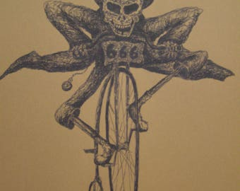 skeleton riding a penny farthing bike print