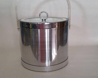 Vintage Georges Briard Brushed Chrome Finish Vinyl 3Qt Ice Bucket - NIB