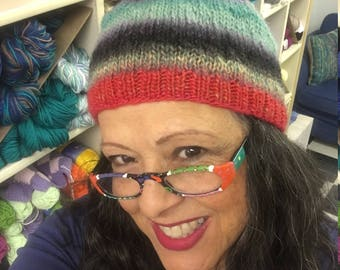 Great Hat with Stripes and Real Fur Pompom