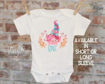 Pink Troll One Birthday Onesie®/T-Shirt, Funny Onesie, Cute Onesie, Birthday Onesie, Cute Baby Bodysuit, Boho Baby - 307O