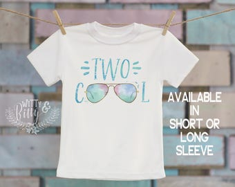 Two Cool Sunglasses in Blue Onesie®/T-Shirt, Second Birthday Shirt, Customized Shirt, Retro Style T-Shirt, Cute T-Shirt, Boho Kids - 219T