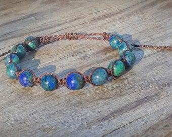 Shamballa macrame bracelet, Chrysocolla bracelet