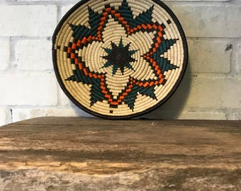 Artisan Basket crafted by Embera Indians in Panama, blue and orange with flower