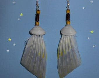 """Earrings feathers """"Shade of grey"""""""
