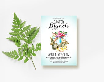 Easter Brunch Printed Invitation Easter Bunnies Party Invitations Spring Floral Easter Invites Template Watercolor Rabbits Chick Invites DIY