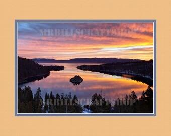 Faux Matted Print. Emerald Bay, Lake Tahoe. Sunset - 12 X 16