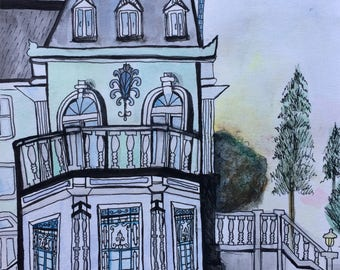 Townhouse, Original Watercolour (Framed)