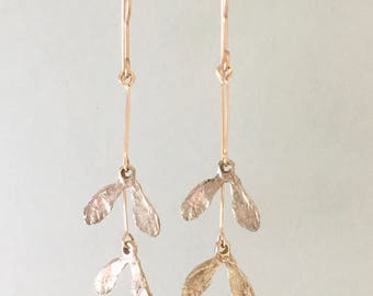 """Maple Seed """"Whirligig"""" Bright Pink Silver Dangle Earrings; Autumn jewelry; Nature inspired"""
