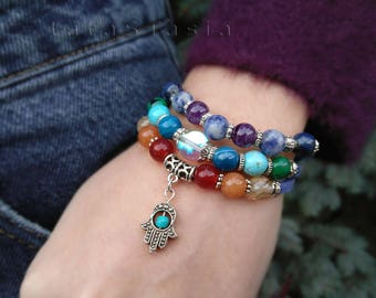 Reiki bracelet, 7 chakras bracelet, seven chakras, balance bracelet, chakra healing, meditation bracelet, yoga mala zen, suede bracelet