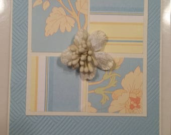 Blue floral blank greeting card//birthday//anniversary