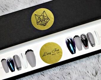 Reindeer Glam Faux Gel Nails   Custom Nails   Chrome Nails   Handpainted   Swarovski Nails   Reusable   Press on Nails