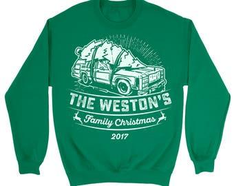 Family Christmas 2017 Personalized Custom Sweater. Customizable Sweatshirt. Your Text Here. Christmas Vintage Style Custom Sweatshirt