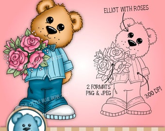 DIGITAL DIGI STAMP- Elliot with roses