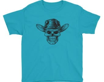Country Cowboy Skull Print Halloween Scary Youth Short Sleeve T-Shirt