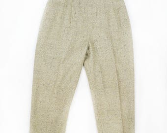 Vintage Cream High Waisted Cigarette Pants Trousers