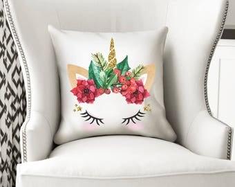 Christmas Unicorn Cushion, Unicorn Pillow, Unicorn, Unicorn Gift, Unicorn Decor, Unicorn Nursery, Girl Gift, Unicorn Bedroom, Cushion, Gift