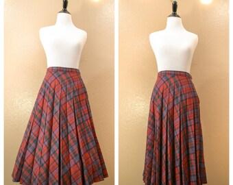 Vintage pleated skirt, Plaid skirt, 1980's Skirt, Vintage plaid, Full skirt, Retro, 80's, Womens, Clothing, Vintage, Skirt, Medium,