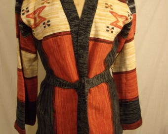 Vintage 70s Southwestern Navajo belted cardigan sweater small