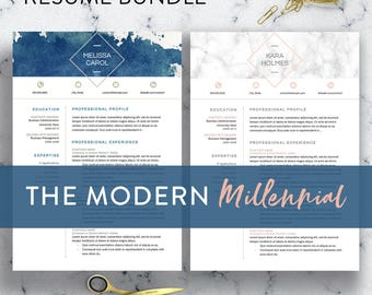 2 Styles Modern Resume Template Word, 1-3 Page Resume   CV Template   Resume BUNDLE   Cover Letter   Watercolor Resume Watercolor Teacher CV