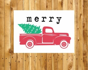 Vintage Christmas Tree Truck SVG, Merry Christmas Truck, Christmas Truck SVG, Sign, Vector, DXF, Print, Fixer Upper, Magnolia Farms, Poster