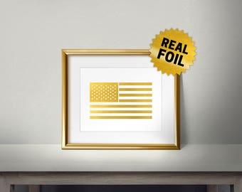 American Flag, USA Flag, Real Gold Foil Print, Golden Flag Wall Decor, Wall Prints for Living Room, Office wall art prints, I love USA