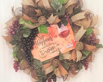 wine wreath, grape themed wreath, vineyard wreath, grape vines, wine themed wreath, grape wreath, faux grape wreath, wine themed wreath
