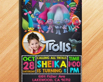 Trolls Birthday Invitation, Trolls Birthday Party, Trolls Invitation, Trolls Birthday, Trolls Party Invitation, Trolls, Trolls Party Ideas