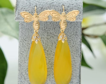 Valentines Gift for mom Yellow Earrings Chalcedony earrings Long Earrings Bridesmaid jewelry Bridesmaid earrings Long earrings Drop earring