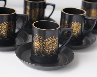 Mid Century Portmeirion Black and Gold Lion Coffee Cups with Saucers // Set of 6 // Designed by Susan Williams-Ellis //Made in England