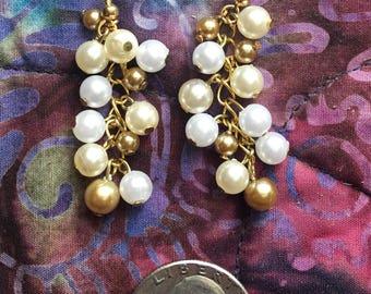 Handmade Pearl Cluster Gold Earrings