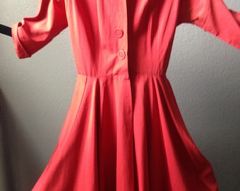 Red sateen swing dress