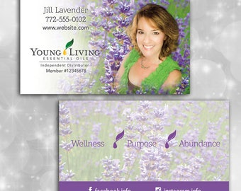 Young Living Photo Business Card with Lavender Field Theme & Seed to Seal on Back