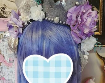 Silver and Lavender Floral Crown