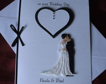 Handmade and Personalised, 3D Wedding or Anniversary Card Bride and Groom