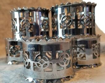 Set of 5 Vintage Celtic Design Napkin Rings, Made in England