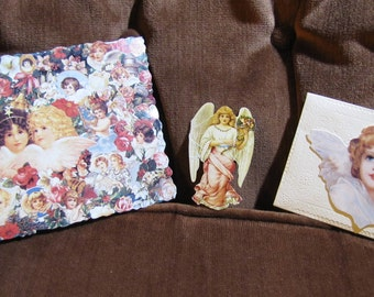 Vintage Set of 3 Angel Cards and Cut-outs circa 1980s - Used - GREAT for Scrapbooking or Crafts