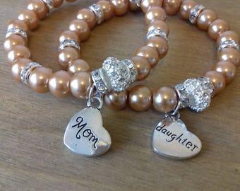mom and daughter beaded bracelet