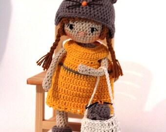 Amigurumi doll,Crochet doll,handmade doll,rag doll,crochet girl doll,girl amigurumi,ooak doll,girl and mouse,crochet mouse,nursery decor