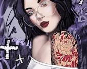 Courtney 8x10 Original Painting Art Print Unique Glasses Woman Makeup Tattoos Destroyed Fashion Art