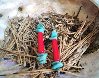 Simple Navajo Red and Turquoise Drop Earrings